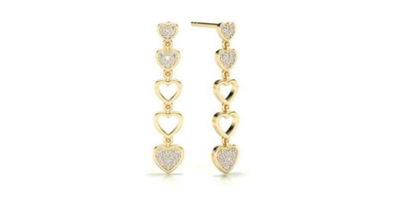 Heart Shaped Diamond Drop Earrings