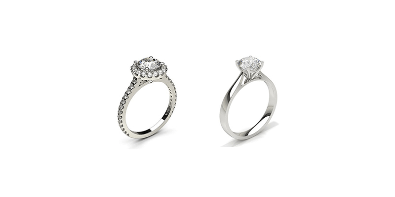 Solitaire and Halo Engagement Rings