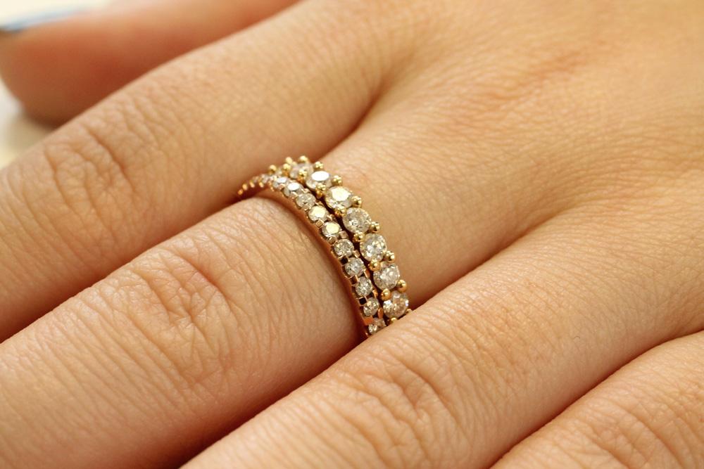Full Eternity Rings stacked on the finger