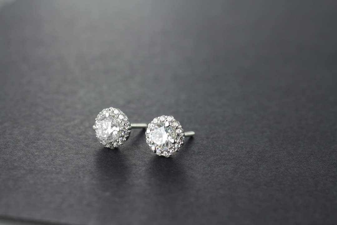 Diamond Halo Earrings