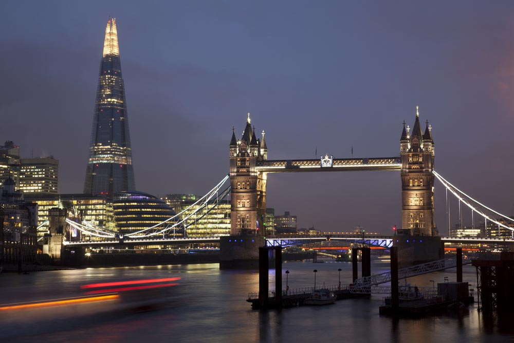 A night time picture of The Shard, London