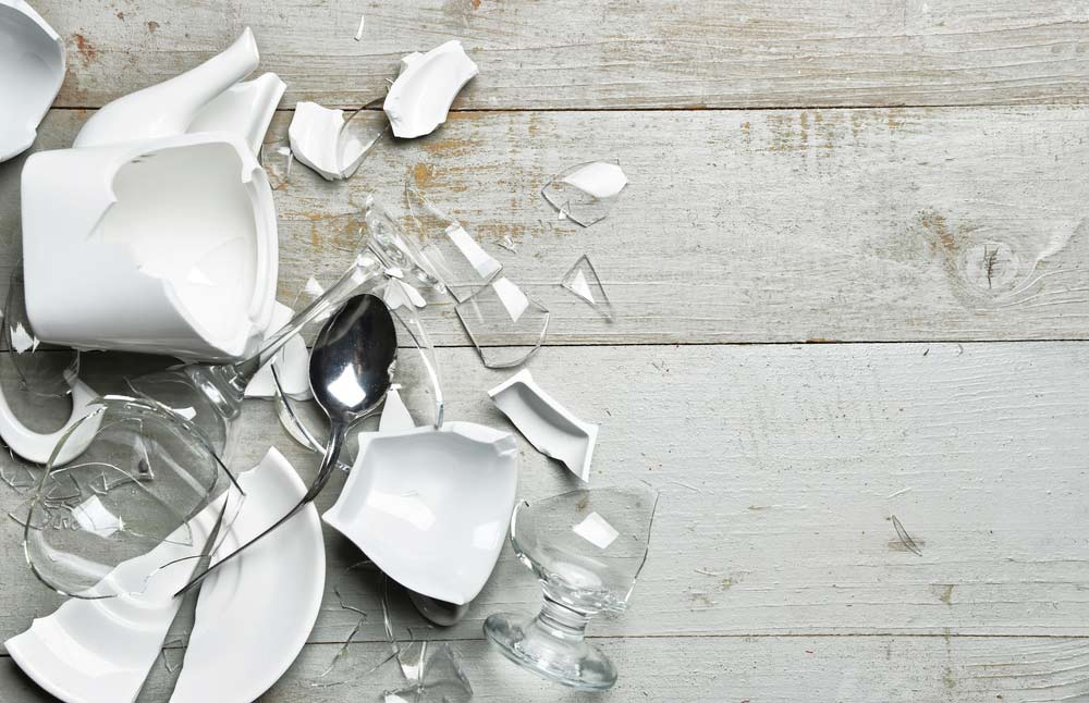 A picture of broken plates