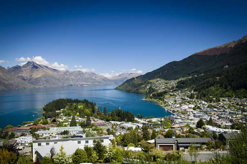 A vista shot of Queenstown in New Zealand