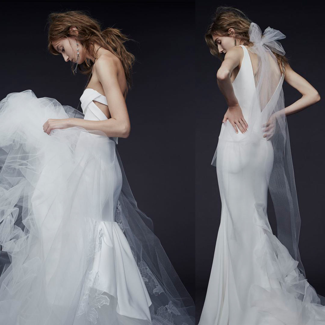 Two photos of Vera Wang wedding dresses.
