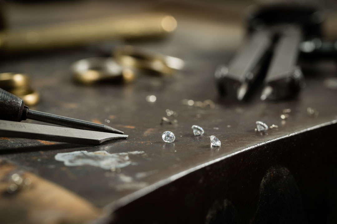Raw diamonds in the workshop