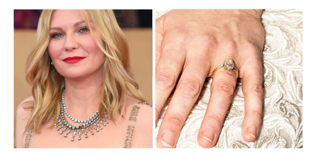 Kirsten Dunst - Oval Three Stone Engagement Ring