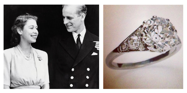 Queen Elizabeth II - Square Cut Diamond Engagement Rng