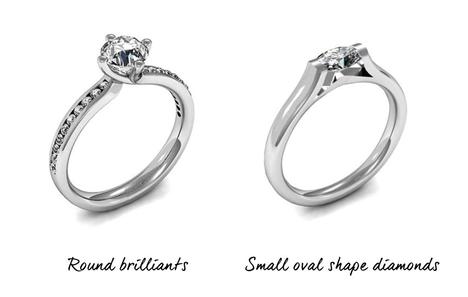 Round and Small Oval Shaped Engagement Rings
