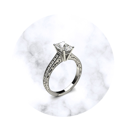 Radiant Shaped Engagement Ring