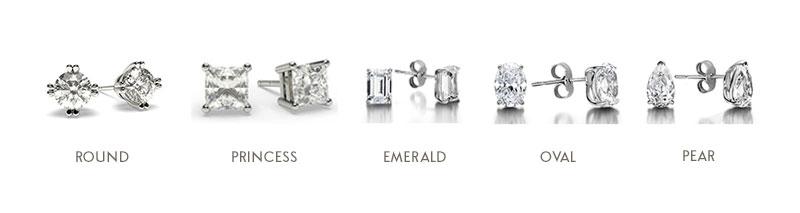 Diamond Stud Earrings - Diamond Shape