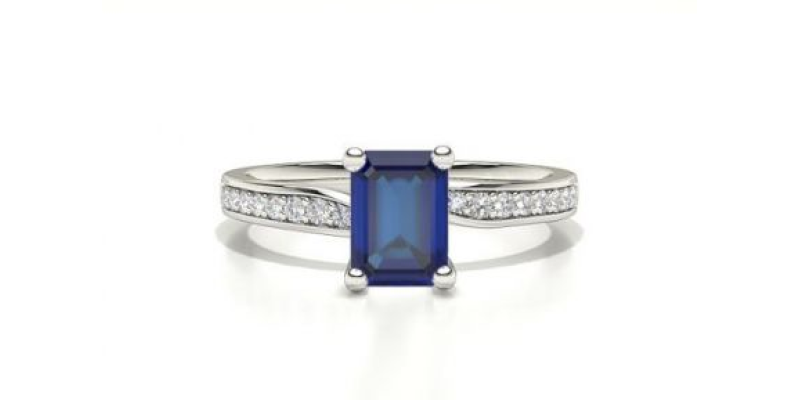 sapphire and diamond side stone ring