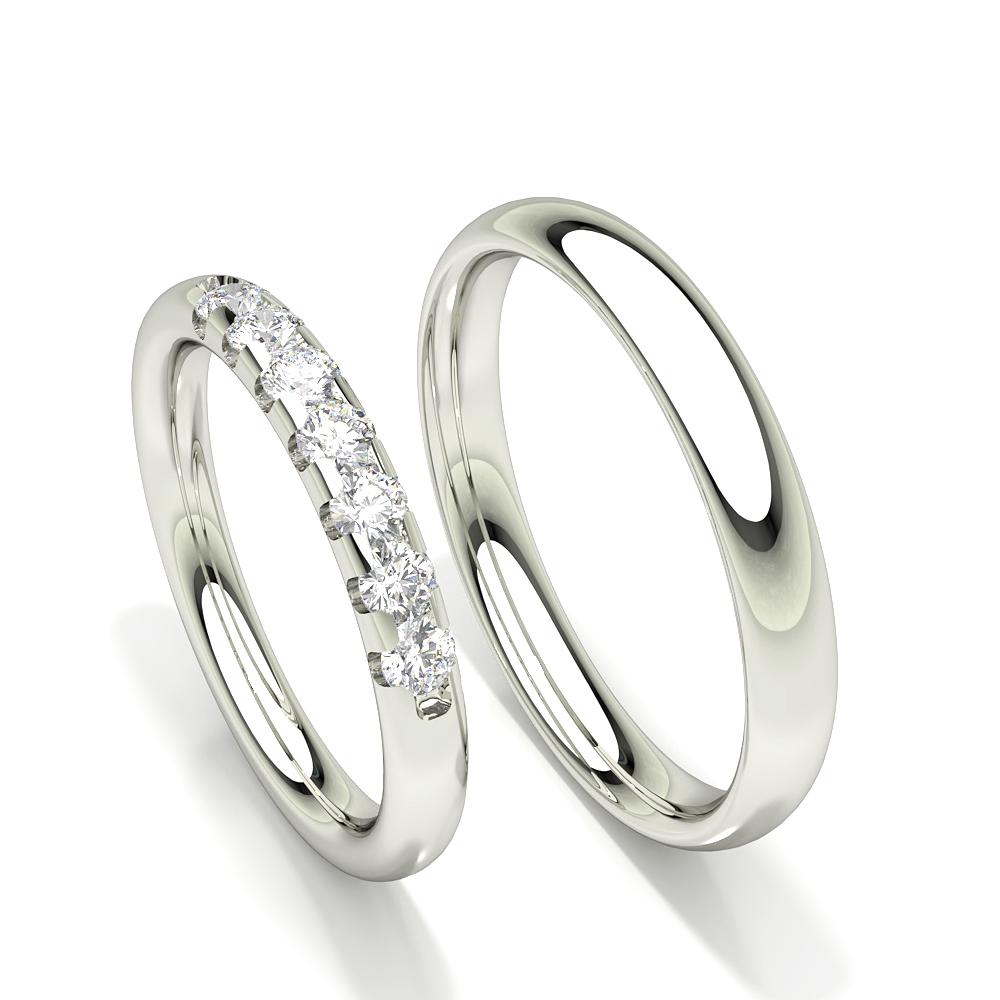Zinken Set Diamant Komfort fit Sieben Stein Damen Ehering