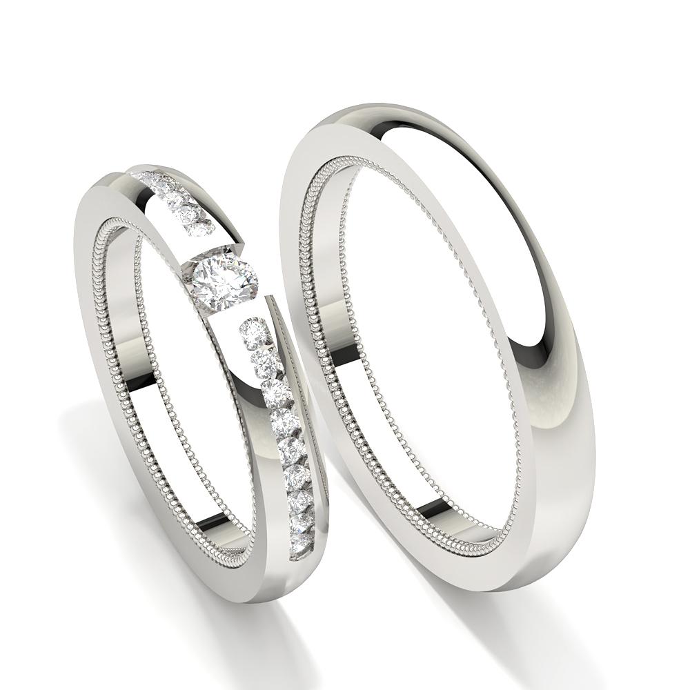 Kanal eingestelltrunder Diamant Damen Ehering
