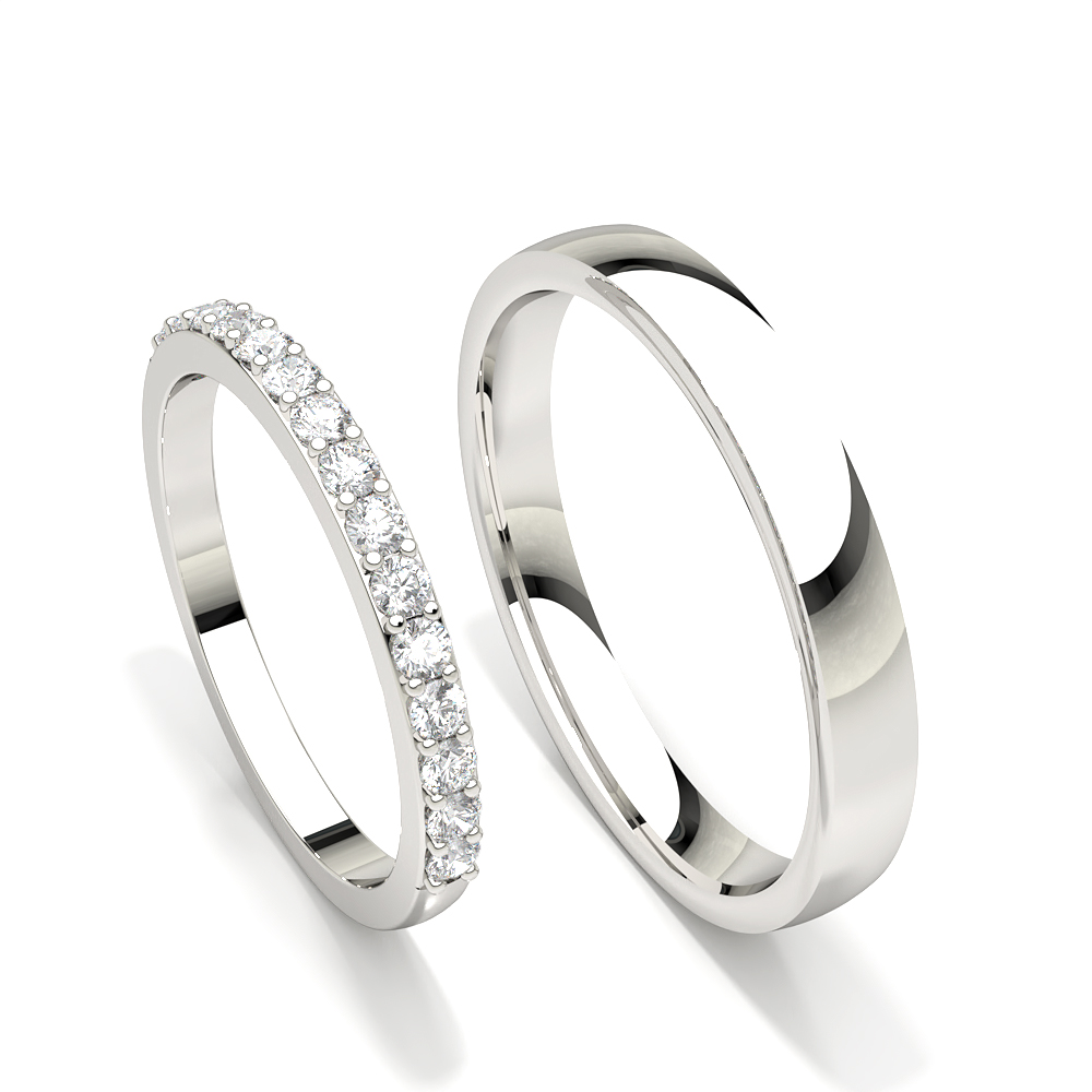 Runder Ehering mit besetzten Damen mit Diamanten