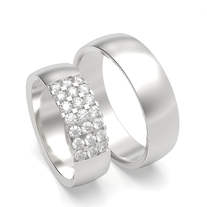 Diamond Studded Womens and Mens Wedding Matching Band