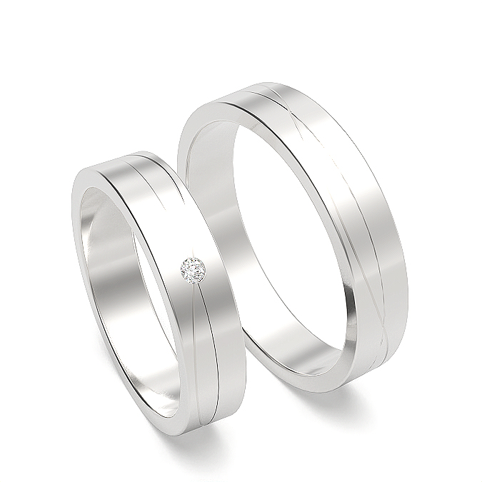 Grooved Profile Womens and Mens Matching Wedding Band