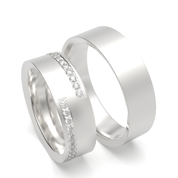 Flat Profile Womens and Mens Matching Wedding Band