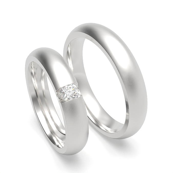 Dome Profile Womens and Mens Matching Wedding Band