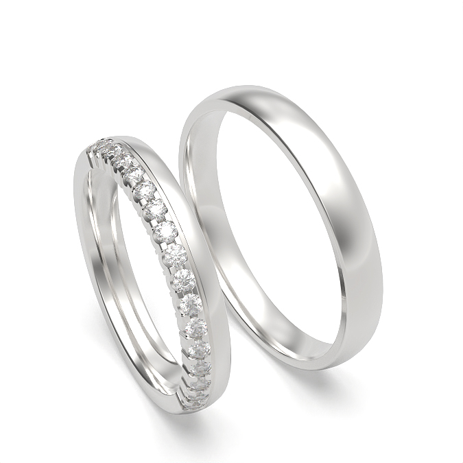 Diamond Studded and Plain Womens and Mens Matching Band