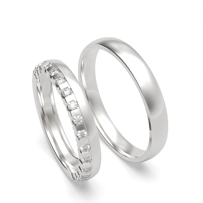 Diamond Studded and Plain Couple Matching Band