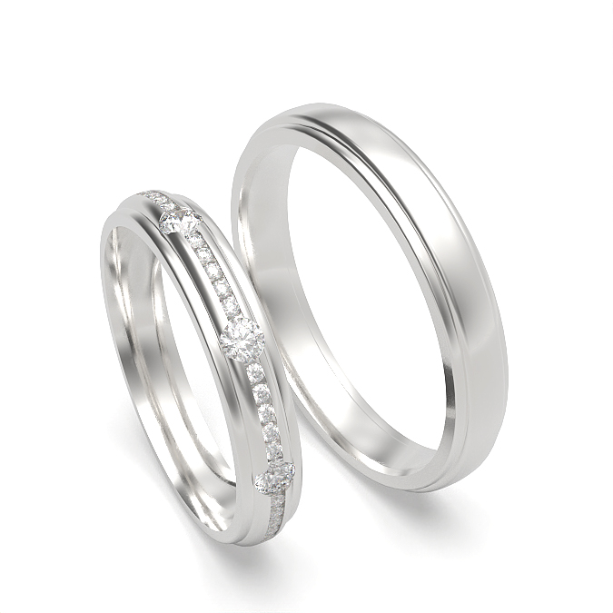 Diamond Studded and Plain Mens and Womens Matching Band