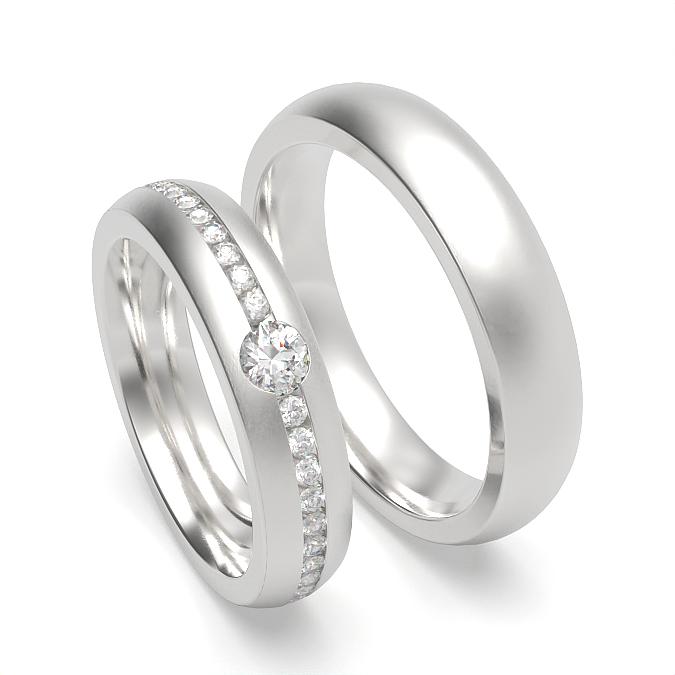 Low Dome Profile Womens and Mens Matching Wedding Band