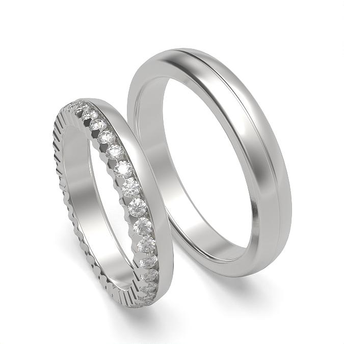 Diamant besetzt und schlicht Herren und Damen Passende Band