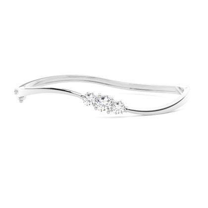 Bracelet jonc diamant rond serti 4 griffes et 3 griffes 0.95ct - CLBG609_12