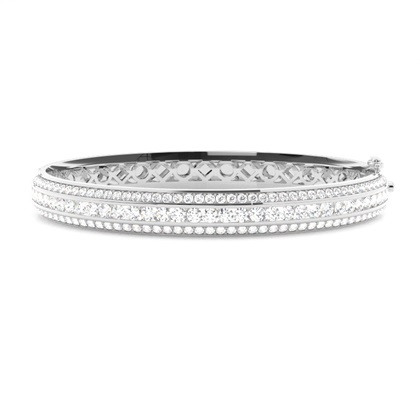 Channel Setting Round Diamond Bangle - CLBG609_15
