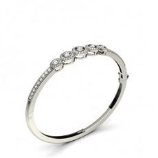 Bracelet jonc diamant rond serti clos et pavé 1.10ct - CLBG609_19