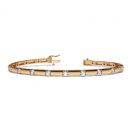 Bracelet tendance diamant rond serti 4 griffes
