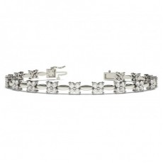 2 Prong Setting Round Diamond Designer Bracelet