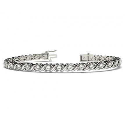 Bracelet tendance diamant rond serti 2 griffes