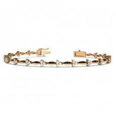 2 Prong Setting Round Diamond Designer Bracelet - CLBR13_01