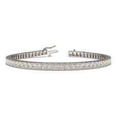 Channel Setting Princess Diamond Tennis Bracelet - CLBR19_01