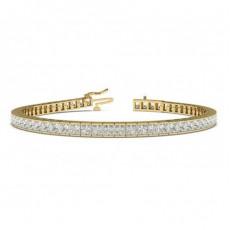 Channel Setting Princess Diamond Tennis Bracelet - CLBR19_01