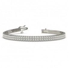 Two Row Prong Setting Princess Diamond Tennis Bracelet - CLBR20_01