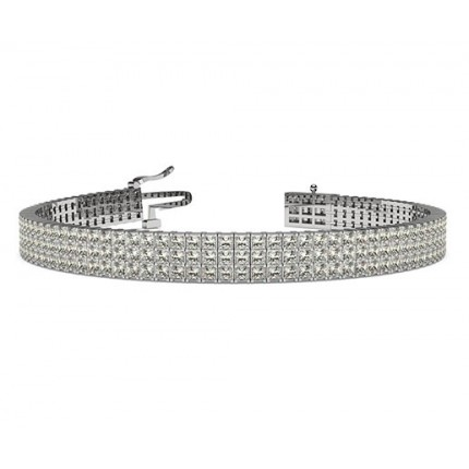 Three Row Prong Setting Princess Diamond Tennis Bracelet