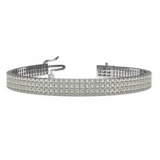 Three Row Prong Setting Princess Diamond Tennis Bracelet