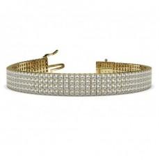 Princess Yellow Gold Tennis Bracelet