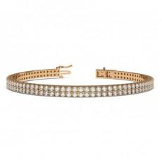 Two Row Pave Setting Round Diamond Tennis Bracelet - CLBR23_01