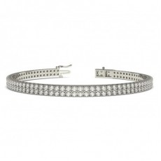 Round Multi Row Tennis Diamond Bracelets