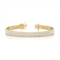 Yellow Gold Multi Row Tennis Diamond Bracelets