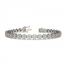 Prong Setting Round Diamond Cluster Tennis Bracelet - CLBR26_01