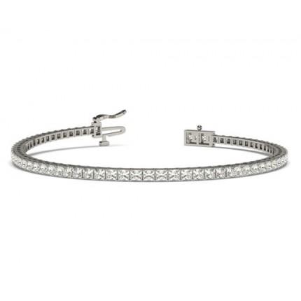 Princess Form Diamant Tennis Armband in einer Krappenfassung