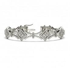 Bracelet tendance diamant rond serti 4 griffes et griffes plates - CLBR34_01