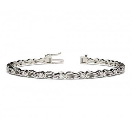 Bracelet tendance diamant rond serti rail