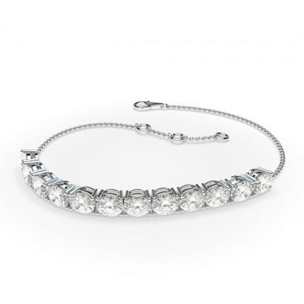 Oval und Runde Diamanten Krappenfassung in einem Zierlichen Armband