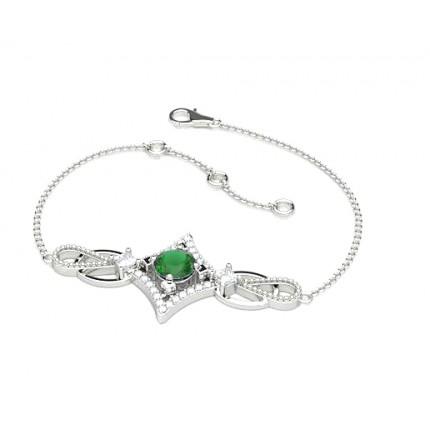 4 Prong Setting Emerald Delicate Bracelet