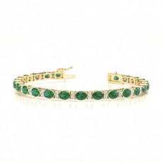 Yellow Gold Gemstone Diamond Bracelets